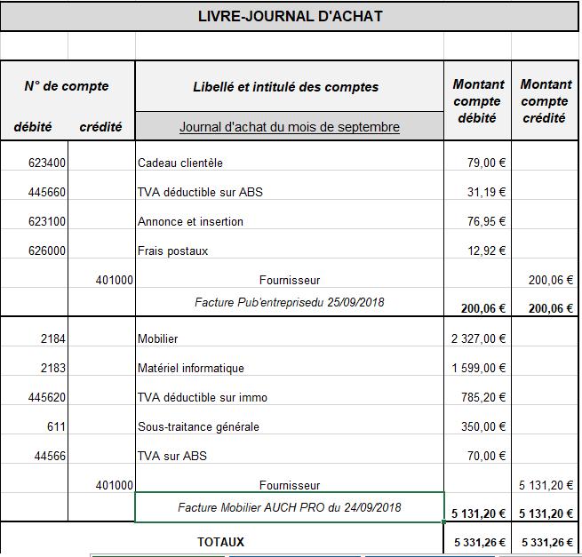 Livre Journal Des Achats